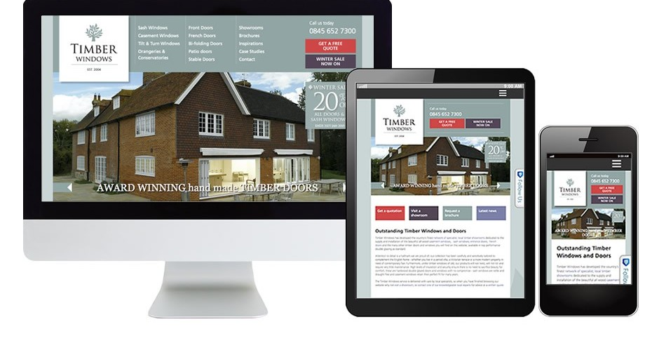 Timber Windows website wordpress development and mobile responsive upgrade